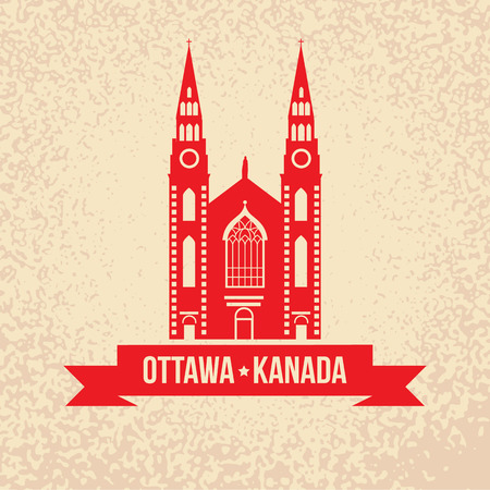 dame: Notre Dame Cathedral in Ottawa. Vintage silhouette with red ribbon. Landmark collection. Illustration