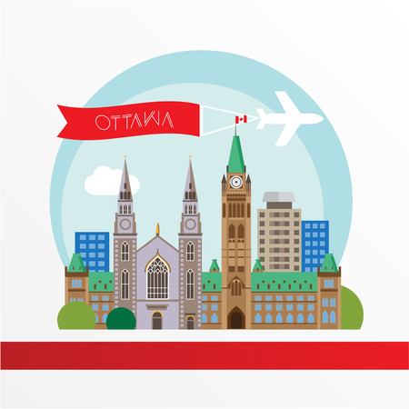 ottawa: Ottawa detailed silhouette. Trendy illustration, flat style. Stylish colorful  landmarks. The concept for a web banner. Centre Block and the Peace Tower - The symbol of Ottawa, Canada