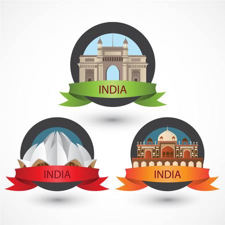 Set of India famous monuments.