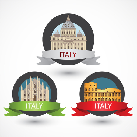 basilica: Set of Italy famous monuments. Milan Cathedral, The Colosseum and St. Peters Basilica. Flat Illustration can be used in web design and travel concepts.