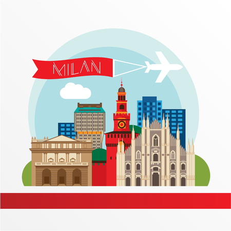 Milan detailed silhouette. Trendy illustration, flat style. Stylish colorful landmarks. The concept for a web banner. Milan Cathedral and La Scala - The symbol of Milan, Italy
