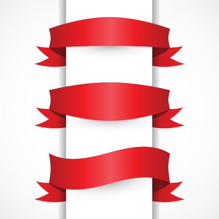 red color: Red ribbon simple set, Arch, flag shapes. Horizontal red banners. Modern style