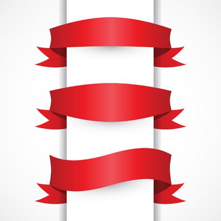 Ruban rouge simple ensemble, Arche, formes de drapeaux. bannières rouges horizontales. Style moderne Vecteurs