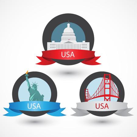 monuments: Set of USA famous monuments. Illustration