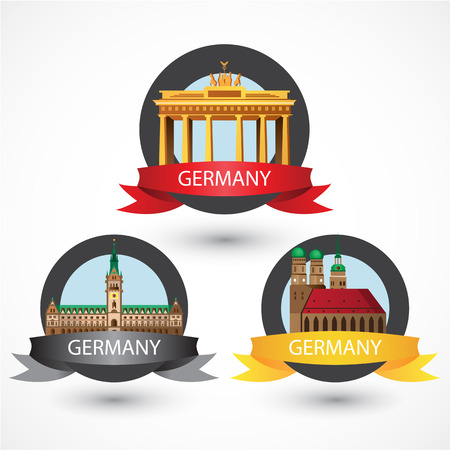 Set of most Famous German Landmarks. High detailed colorful style. Travel icon. Munich Frauenkirche, Brandenburg Gate and Hamburg City Hall