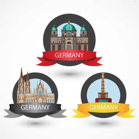 cologne: Set of most Famous German Landmarks. High detailed colorful style. Travel icon. Cologne Cathedral, The Protestant Berlin Cathedral and Berlin Victory Column