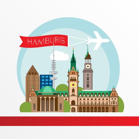ハンブルク詳細なシルエット。トレンディなイラスト、フラット スタイル。スタイリッシュなカラフルなランドマーク。市庁舎のシンボル ハンブル