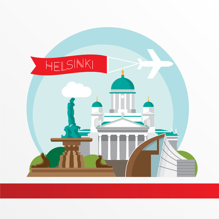 Helsinki detailed silhouette. Trendy illustration, flat style. Stylish colorful  landmarks. The concept for a web banner. Amanda the symbol of Helsinki, Finland.