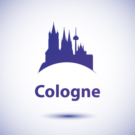Cologne City Skyline Silhouette. Einfache Wohnung Konzept für den Tourismus-Präsentation, Banner, Plakat oder auf der Website. Business-Travel-Konzept. Stadtansicht mit Sehenswürdigkeiten