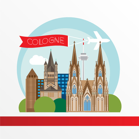Cologne detailed silhouette. Trendy illustration, flat style. Stylish colorful  landmarks. Great St. Martin Church, Cologne Cathedral the symbol of Cologne, Germany.