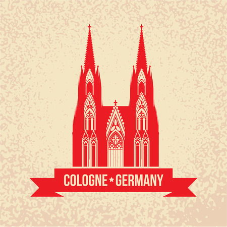 cologne: German city Cologne travel symbol.  Koln Dom Cathedral, Germany, vintage silhouette with red ribbon. Landmark collection. Illustration