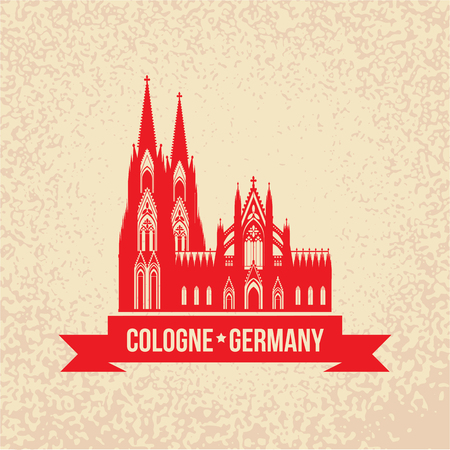 dom: German city Cologne travel symbol.  Koln Dom Cathedral, Germany, vintage silhouette with red ribbon. Landmark collection. Illustration