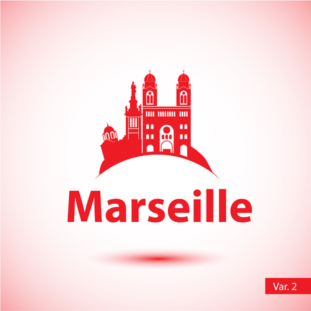Marseille City skyline silhouette. Simple flat concept for tourism presentation, banner, placard or web site. Business travel concept. Cityscape with landmarks