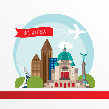 historic building: Montreal detailed silhouette. Trendy illustration, flat style. Stylish colorful  landmarks. The concept for a web banner. St Joseph Oratory - The symbol of Montreal, Canada
