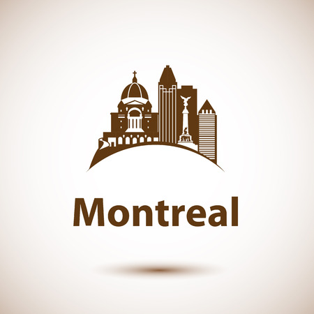 quebec: city skyline with landmarks Montreal Quebec Canada. illustration can be used as logo