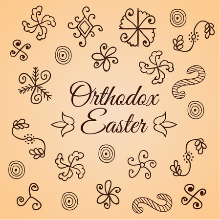 Traditional hand drawn simple folk ornament. Doodle set. Design for shrink egg wrap. Card for Orthodox Easter. Modern style.