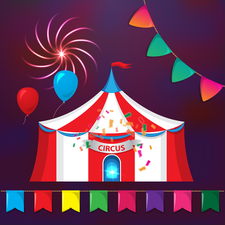 tarpaulin: Big Top Circus Tents with decorative elements. Flags, fireworks and garlands.. Illustration of cartoon white and red big top circus tents on dark background