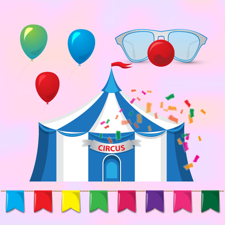 big top: Big Top Circus Tents with decorative elements. Circus elements. Magic hat with rabbit ears and clowns glasses with red nose. Vector illustration