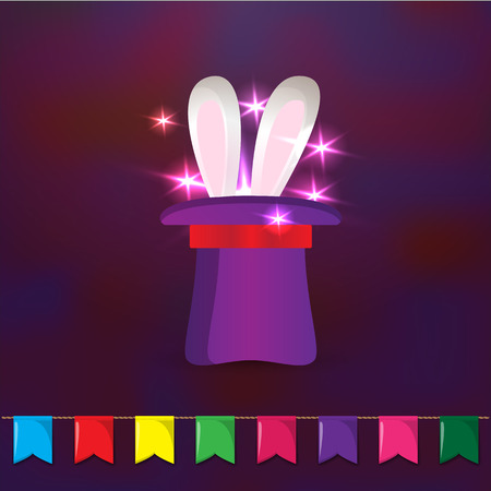 magic trick: Magic hat with rabbit ears. Elements for party design. Magic trick on dark background.