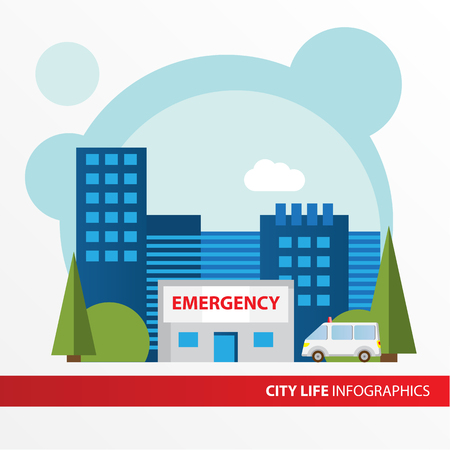 car care center: Hospital building icon in the flat style. Emergency hospital building. Concept for city infographic. Different types of industry of the city in the flat style.