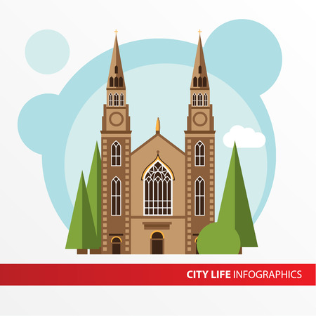 roman catholic: Church building icon in the flat style. Roman catholic church. Concept for city infographic. Different types of the cultural life of the city in the flat style. Illustration