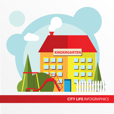 municipal: Kindergarten building icon in the flat style. Preschool. Concept for city infographic. Different types of Municipal life of the city in the flat style.
