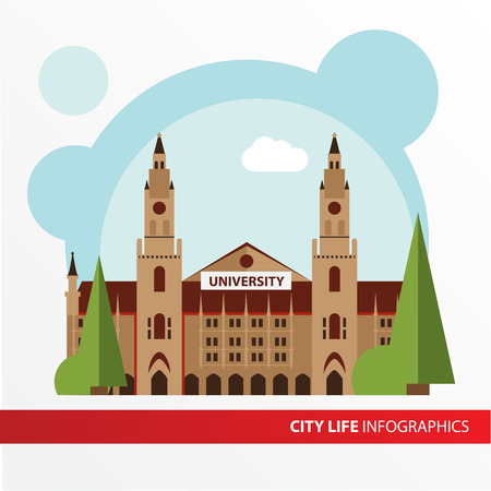 univercity: Univercity building icon in the flat style. Institute. Concept for city infographic. Different types of Municipal life of the city in the flat style.