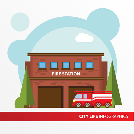 municipal: Fire station building and fire engine icon in the flat style. Emergency fire office. Concept for city infographic. Different types of Municipal life of the city in the flat style.