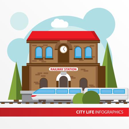 Bahnhof Gebäude-Symbol in der Wohnung Stil. Bahnhof. Konzept für die Stadt Infografik. Verschiedene Arten von städtischen Leben der Stadt in der flachen Stil.