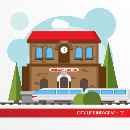Stationsgebouw icoon in de vlakke stijl. Treinstation. Concept voor city infographic. Verschillende types van de Gemeentelijke leven van de stad in de vlakke stijl. Stock Illustratie