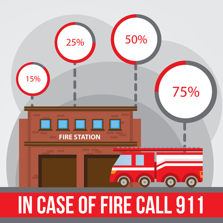 responders: Illustration of a fire station fire engine with infographics elements and round diagramm. Flat style. Illustration