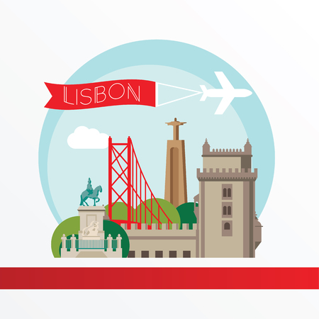 belem: Lisbon, detailed silhouette. Trendy vector illustration, flat style. Stylish colorful  landmarks. The concept for a web banner. Belem Tower - The symbol of Lisbon