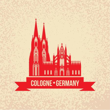 ドイツの都市ケルン旅行記号です。 ケルン大聖堂、ドイツ、ベクトル ビンテージ シルエットに赤いリボン。ランドマーク コレクション。