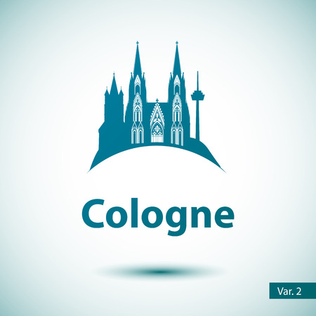 Cologne City skyline silhouette. Vector illustration. Simple flat concept for tourism presentation, banner, placard or web site. Business travel concept. Cityscape with landmarks