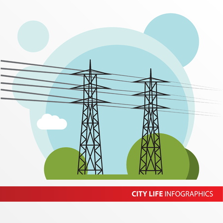 mains: Transmission tower. Isolated power-line carrier, power-line digital subscriber line PDSL, mains communication, power-line telecommunications, power-line networking PLN.  Infographics city.