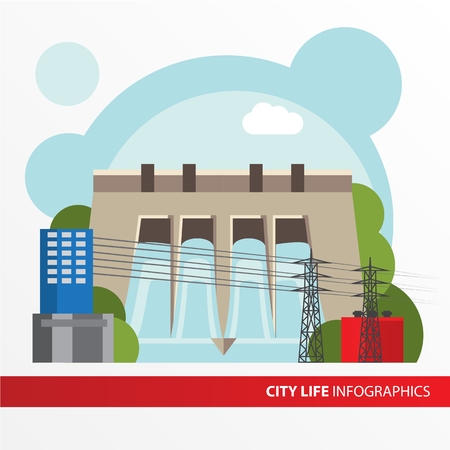 hydroelectric: Hydroelectric power station. Colorful illustration in a flat style. City infographics set. All types of power stations. System with transmission tower and generator and Dam. Front view.