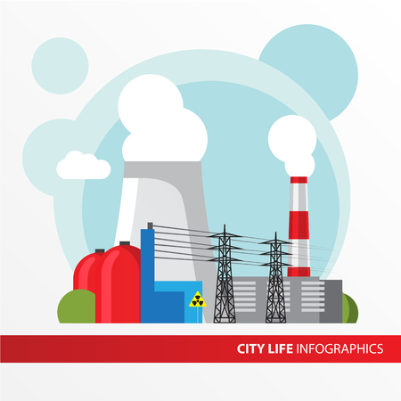 Nuclear power plant. Colorful illustration in a flat style. City infographics set. All types of power stations. System with transmission tower, nuclear reactor and Cooling tower Ilustrace