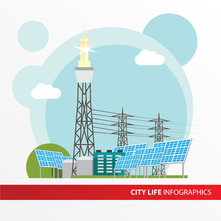 concentrating: Concentrated solar power station. Colorful illustration in a flat style. City infographics set. All types of power stations. System with Concentrator photovoltaics,  electrical power generator and Solar power tower Illustration