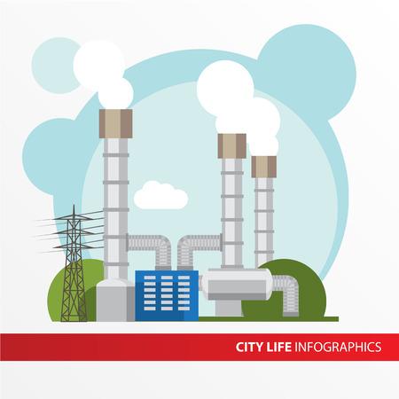 地熱発電所フラット スタイルでカラフルなイラストです。市インフォ グラフィックのセットです。発電所のすべてのタイプ。タービン、復水器、セ