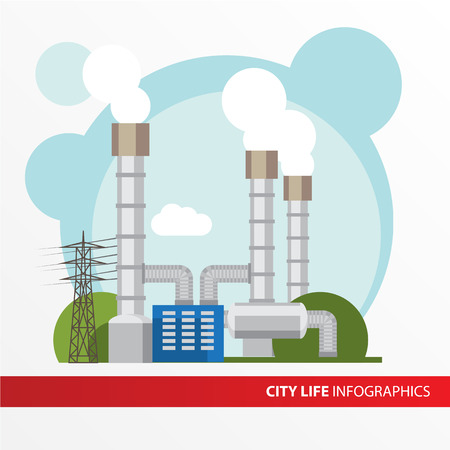 condenser: Geothermal power station Colorful illustration in a flat style. City infographics set. All types of power stations. System with turbine, condenser, separator and generator