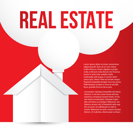 immovable property: White paper house on red background. Concept for corporate identity or web banner. Minimalist vector style. Illustration