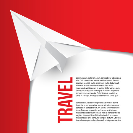 be the identity: Flying paper origami plane. Hot tours concept. Can be used for corporate identity of travel agency. Red minimalist concept