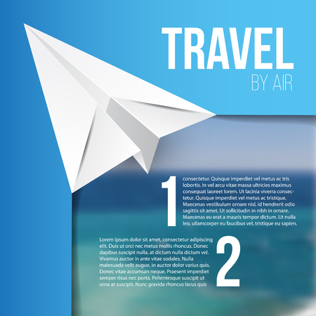 flying paper: Flying paper origami plane. Hot tours concept. Blurred sea landscape as background. You can paste any photo and add animation for web banner