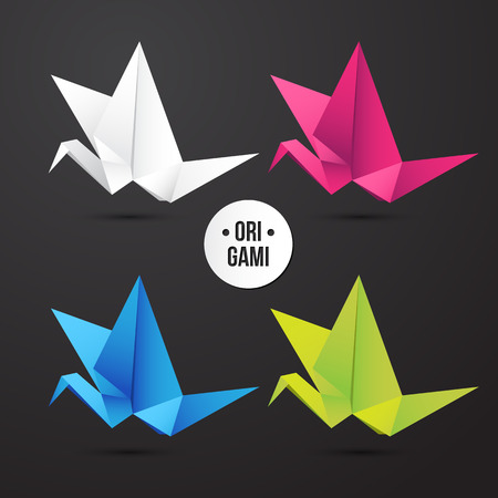 3d dove: Vector paper origami crane bird icon. Colorful origamy set. Paper design for your corporate identity. Modern style