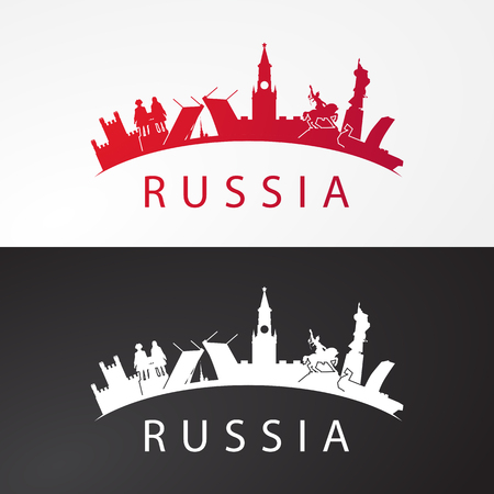 Modern concept Travel to Russia. Russia famous places in one icon. Landmarks of Moscow, Saint petersburg, Ufa, Vladivostok, Kaliningrad, Ekaterinburg and Samara. Vector russia travel