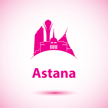 dome type: Vector silhouette of Astana, Kazakhstan. Bayterek tower the symbol of Astana, Kazakhstan
