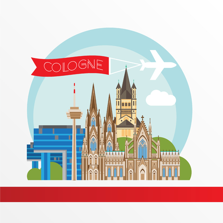 Cologne detailed silhouette. Trendy vector illustration, flat style. Stylish colorful  landmarks. Great St. Martin Church, Cologne Cathedral, Kranhaus the symbol of Cologne, Germany.