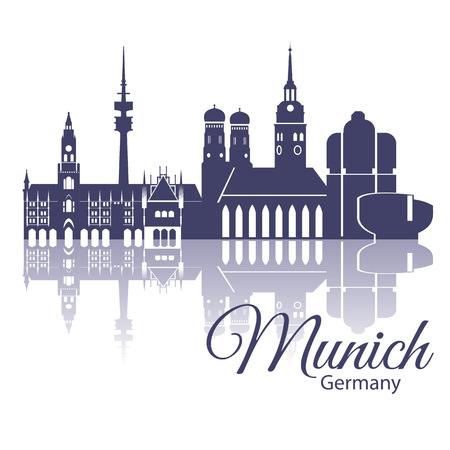 ミュンヘンのスカイライン、詳細なシルエット。トレンディなベクトル図、フラット スタイル。スタイリッシュなカラフルなミュンヘンのランドマ