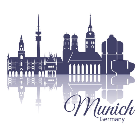 Munich skyline, detailed silhouette. Trendy vector illustration, flat style. Stylish colorful Munich landmarks. The concept for a web banner Stok Fotoğraf - 56565891