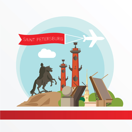 saint petersburg: St. Petersburg detailed silhouette. Trendy vector illustration, flat style. Stylish colorful  landmarks.  Bronze Horseman, Peter and Paul Fortress, Rostral column the symbol of Saint Petersburg, Russia